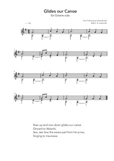 Glides our canoe: For guitar solo (G Major) by folklore