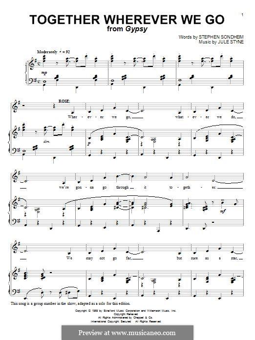 Together Wherever We Go: Für Stimme und Klavier by Jule Styne