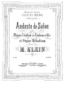 Andante de salon for Piano, Violin (or Cello) and Organ: Orgelstimme by Manuel Klein