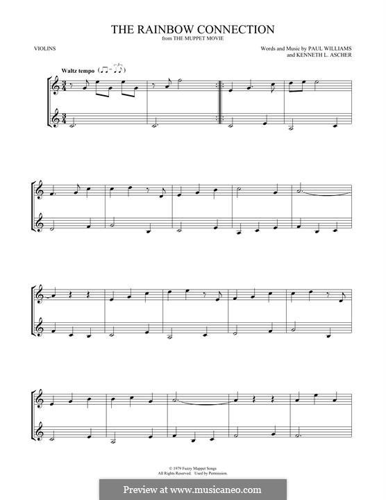 The Rainbow Connection (Kermit the Frog): Für zwei Violinen by Paul H. Williams, Kenneth L. Ascher