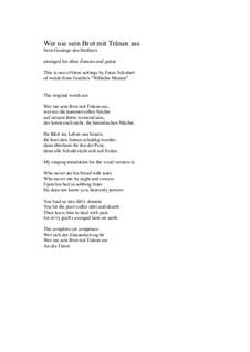 Nr.2 Wer nie sein Brot mit Tränen ass: For oboe d'amore and guitar by Franz Schubert