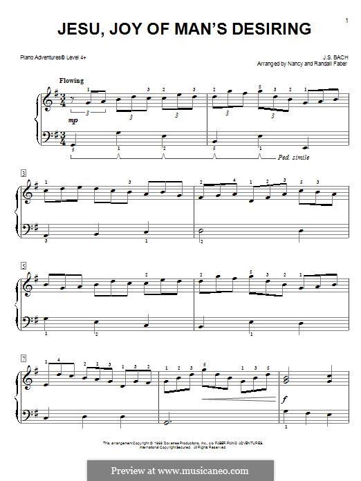 Wohl mir, dass ich Jesum habe, für Klavier: Easy version by Johann Sebastian Bach