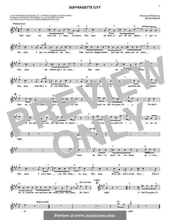 Suffragette City: Melodische Linie by David Bowie