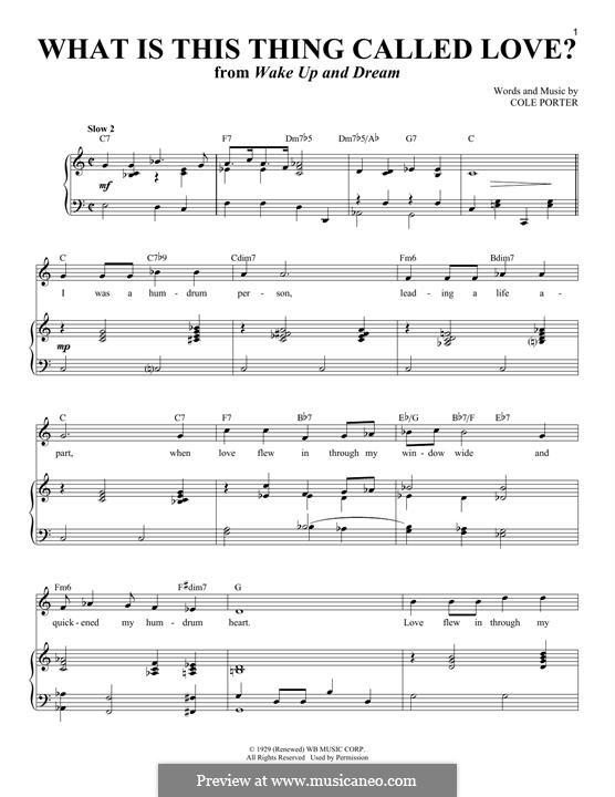 What Is This Thing Called Love?: Für Stimme und Klavier by Cole Porter