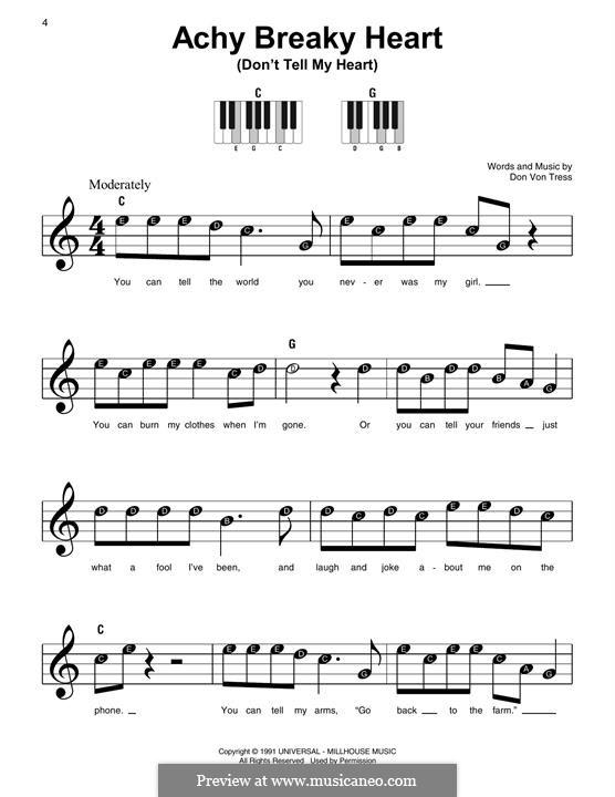 Achy Breaky Heart (Don't Tell My Heart): Für Klavier by Donald Von Tress
