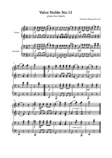 Valses nobles für Klavier, D.969 Op.77: No.11, for piano four hands by Franz Schubert