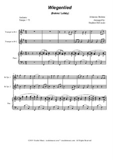 Nr.4 Wiegenlied: Duet for Bb-trumpet and piano by Johannes Brahms