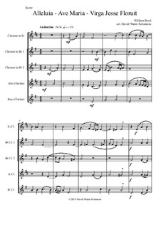 Alleluia - Ave Maria - Virga Jesse floruit: For clarinet quintet (E flat, 2 B flats, Alto and Bass) by William Byrd