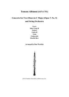 Concerto No.5 in C Major: Version for two oboes and string orchestra – score, parts by Tomaso Albinoni