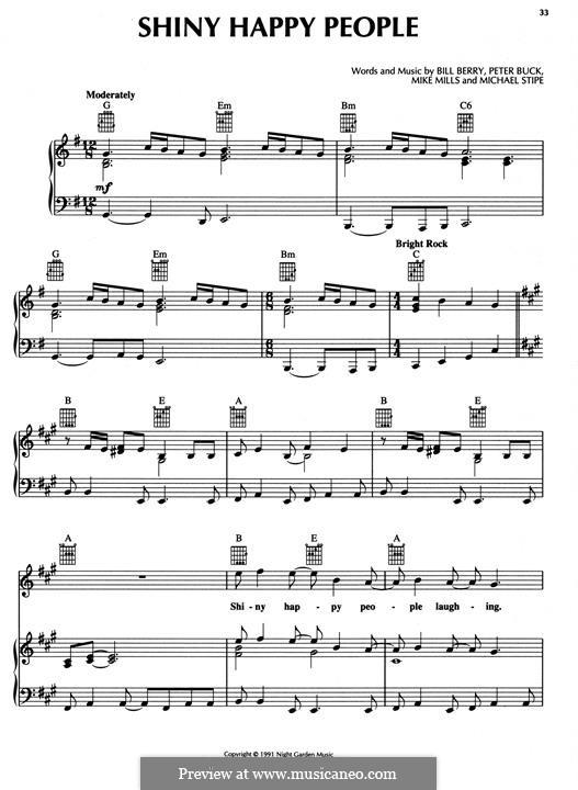 Shiny Happy People (R.E.M.): Für Stimme und Klavier (oder Gitarre) by Mike Mills, Michael Stipe, Peter Buck, William Berry