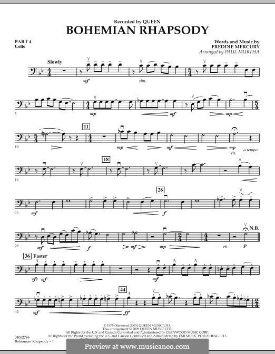 Bohemian Rhapsody (Arrangement by Paul Murtha): Pt.4 - Cello by Freddie Mercury