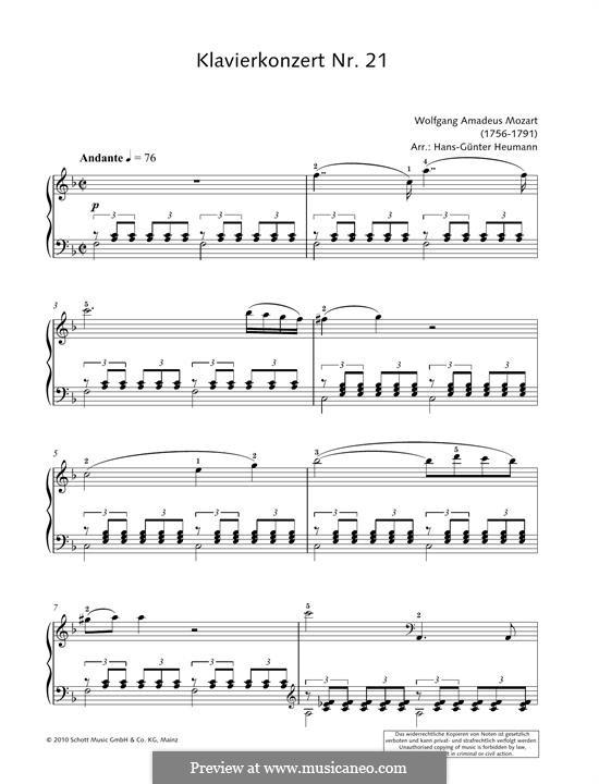 Konzert für Klavier und Orchester Nr.21 in C-Dur, K.467: Movement II (Fragment). Version for piano by Wolfgang Amadeus Mozart