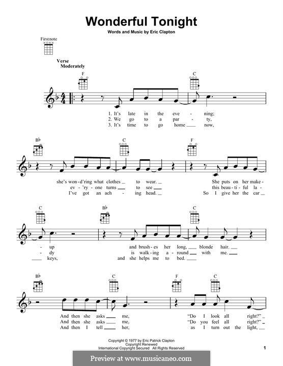 Wonderful Tonight: Für Ukulele by Eric Clapton