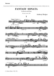 Fantasy Sonata for Bassoon and Piano, Op.104: Solostimme by Anthony Hedges