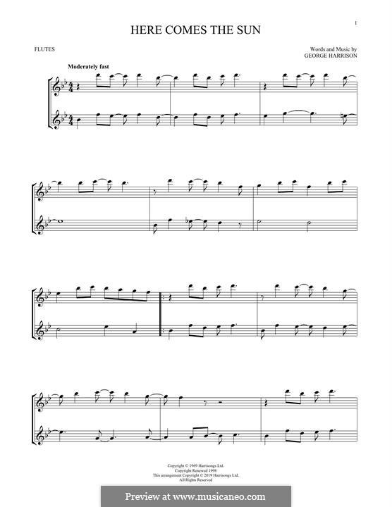 Here Comes the Sun (The Beatles): Für zwei Flöten by George Harrison