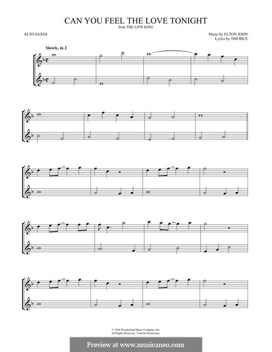 Can You Feel the Love Tonight (from The Lion King), instrument version: For two alto saxophones by Elton John