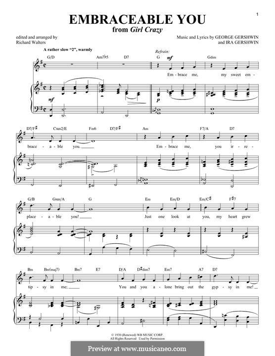 Embraceable You: Für Stimme und Klavier by George Gershwin
