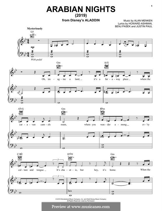 Arabian Nights (from Aladdin): Für Stimme und Klavier (oder Gitarre) by Alan Menken