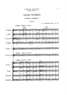 Walzer-Scherzo für Violine und Orchester, TH 58 Op.34: Partitur by Pjotr Tschaikowski
