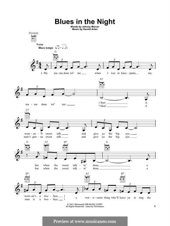 Blues in the Night (My Mama Done Tol' Me): Für Ukulele by Harold Arlen