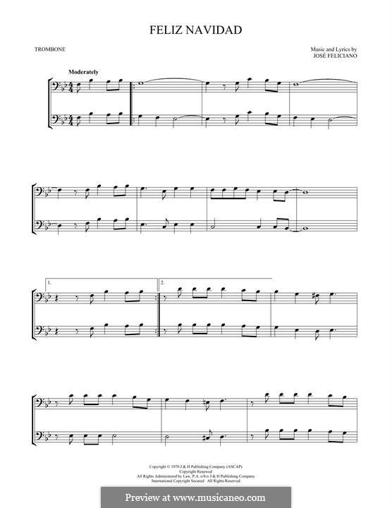 Feliz Navidad: For two trombones by José Feliciano