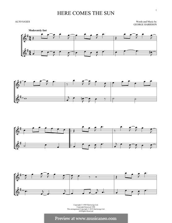 Here Comes the Sun (The Beatles): For two alto saxophones by George Harrison