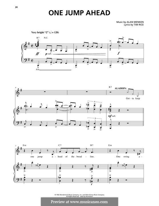 One Jump Ahead (from Disney's Aladdin): Für Stimme und Klavier by Alan Menken