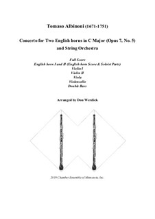Concerto No.5 in C Major: Version for two english horns and string orchestra – score, parts by Tomaso Albinoni