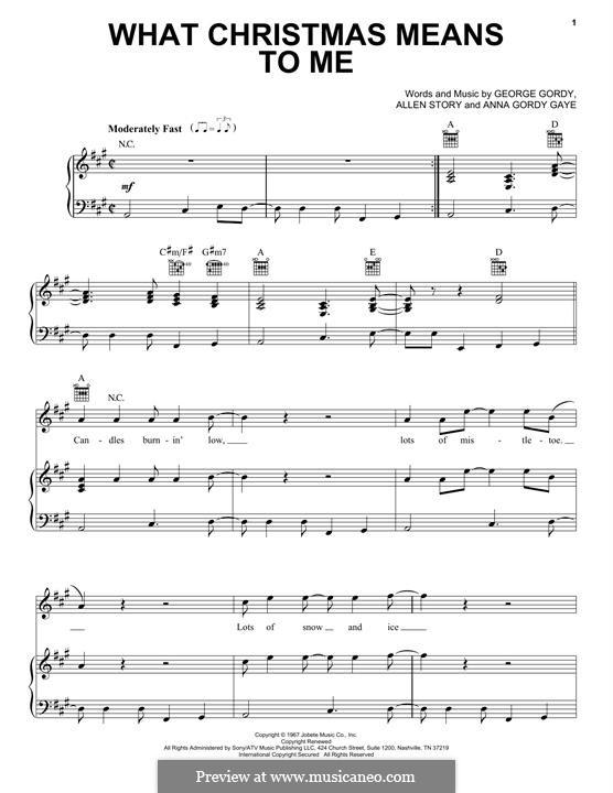 What Christmas Means To Me (Stevie Wonder): Für Stimme und Klavier (oder Gitarre) by Allen Story, Anna Gordy Gaye, George Gordy