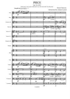 Stück für Cello (oder Viola) und Klavier, Op.39: Version for viola and chamber orchestra by Ernest Chausson