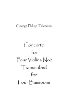 Concerto for Four Violins No.2, TWV 40:202: Concerto for Four Violins No.2 by Georg Philipp Telemann