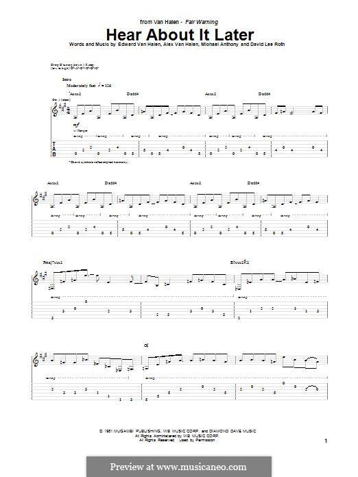 Hear About It Later (Van Halen): Für Gitarre mit Tabulatur by Alex Van Halen, David Lee Roth, Edward Van Halen, Michael Anthony