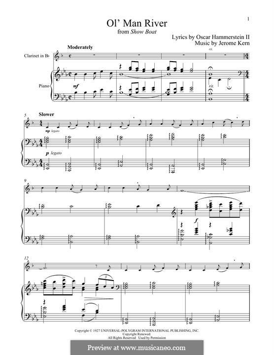 Ol' Man River (from Show Boat): Für Klarinette und Klavier by Jerome Kern