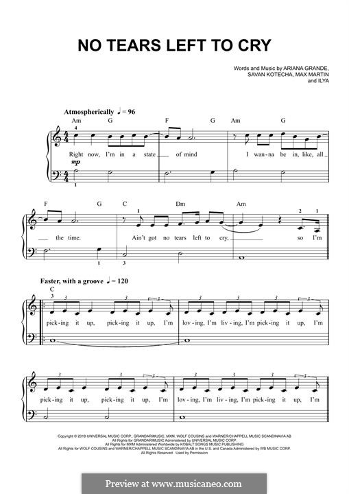 No Tears Left To Cry: Für Klavier by Max Martin, Savan Kotecha, Ariana Grande, Ilya