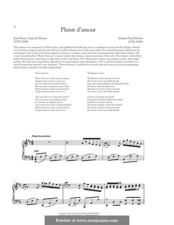 Plaisir d'Amour: Für Stimme und Klavier by Jean Paul Egide Martini