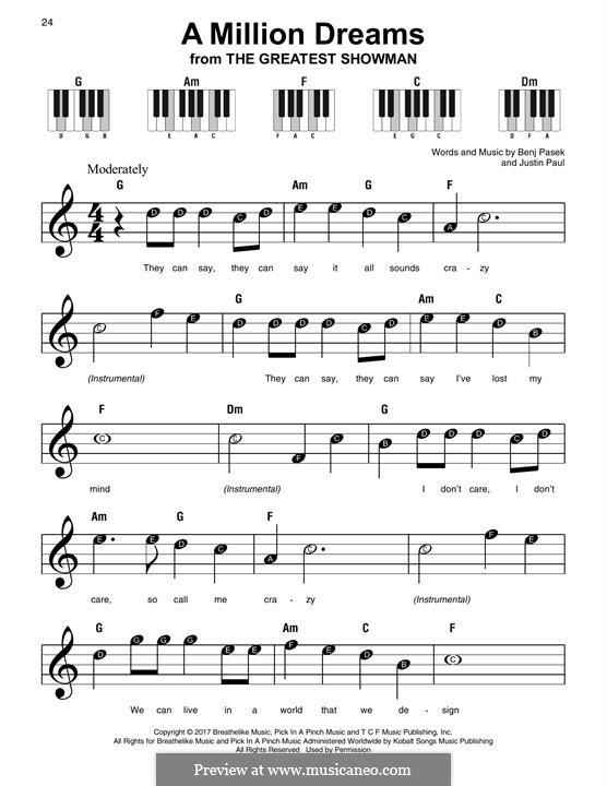 A Million Dreams (from The Greatest Showman): Für Klavier by Justin Paul, Benj Pasek