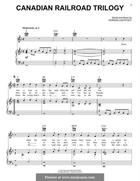 Canadian Railroad Trilogy: Für Stimme und Klavier (oder Gitarre) by Gordon Lightfoot
