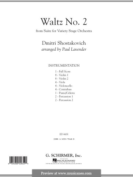 The Second Waltz: For strings, piano and percussion by Dmitri Schostakowitsch