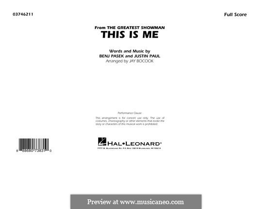This is Me: Conductor score (full score) arr. Jay Bocook by Justin Paul, Benj Pasek