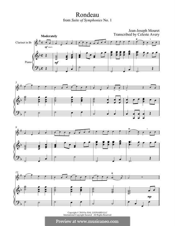 Fanfare Rondeau: Theme, for clarinet and piano by Jean-Joseph Mouret
