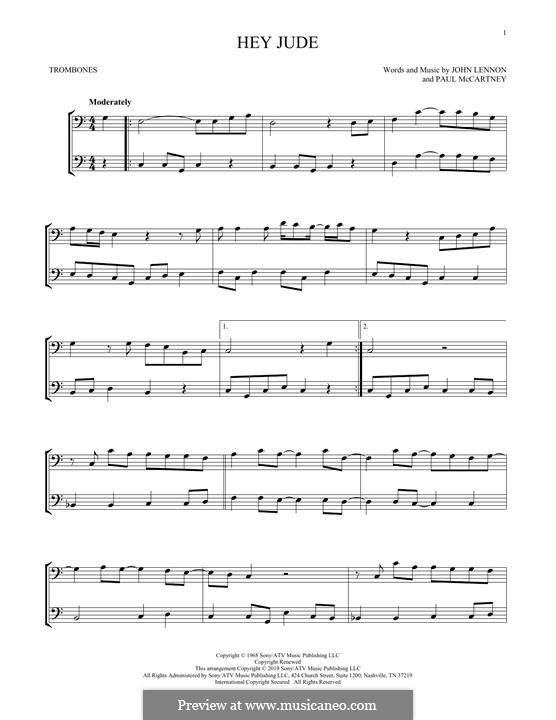 Hey Jude (The Beatles): For two trombones by John Lennon, Paul McCartney