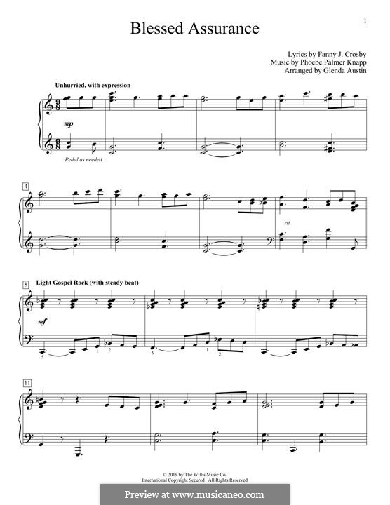 Blessed Assurance: Für Klavier by Phoebe Palmer Knapp