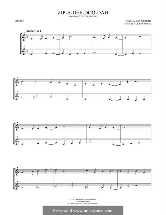 Zip-A-Dee-Doo-Dah: Für zwei Violinen by Allie Wrubel