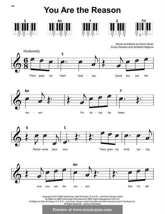 You are the Reason: Für Klavier by Calum Scott, Corey Sanders, Jonathan Maguire