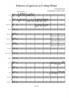 Scherzo a capriccio in fis-Moll, WoO 3: For symphonic orchestra – score and parts by Felix Mendelssohn-Bartholdy