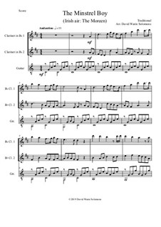 The Minstrel Boy (The Moreen): For 2 B flat clarinets and guitar by folklore