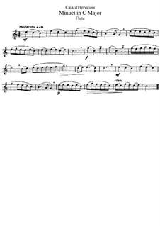 Menuett in C-Dur: Bearbeitung für Flöte und Klavier – Solo Stimme by Louis de Caix d'Hervelois