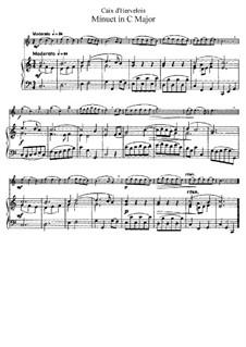 Menuett in C-Dur: Bearbeitung für Flöte und Klavier by Louis de Caix d'Hervelois