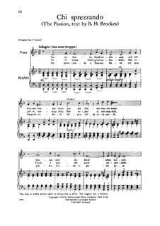 Brockes Passion, HWV 48: Chi sprezzando il sommo bene, Low Voice by Georg Friedrich Händel
