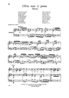 Siroes, King of Persia, HWV 24: Ch'io mai vi possa, Low Voice by Georg Friedrich Händel